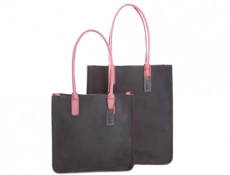 08 Series - Nabuk Leather Lady Totes - gray - pink - big and small